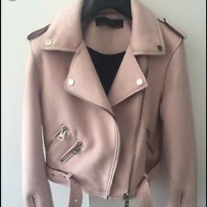 Zara suede light pink Moto jacket